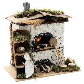 Brick oven figurine house FLICKERING FIRE LIGHT 20x20x15 cm nativity 12 cm s3