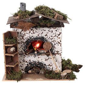 Brick oven figurine house FLICKERING FIRE LIGHT 20x20x15 cm nativity 12 cm s5