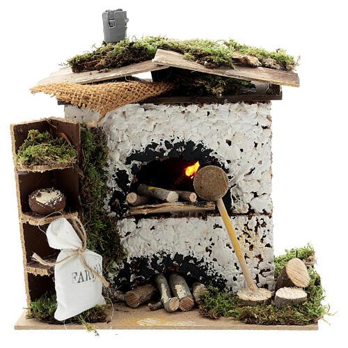 Brick oven figurine house FLICKERING FIRE LIGHT 20x20x15 cm nativity 12 cm 1