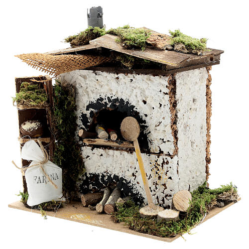 Brick oven figurine house FLICKERING FIRE LIGHT 20x20x15 cm nativity 12 cm 2