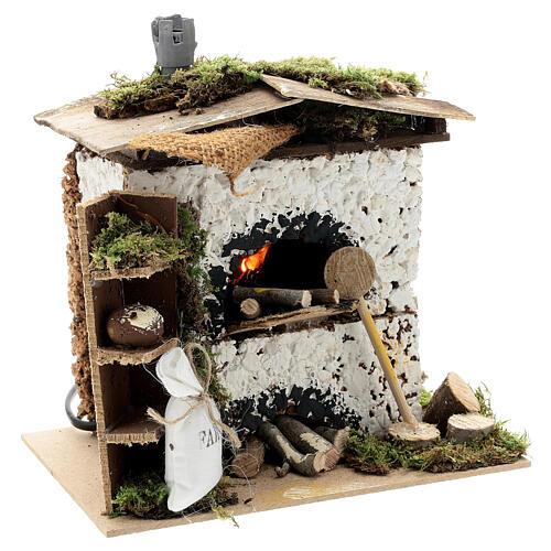 Brick oven figurine house FLICKERING FIRE LIGHT 20x20x15 cm nativity 12 cm 3