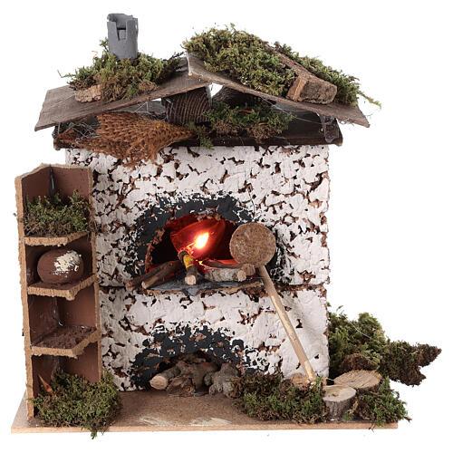 Brick oven figurine house FLICKERING FIRE LIGHT 20x20x15 cm nativity 12 cm 5