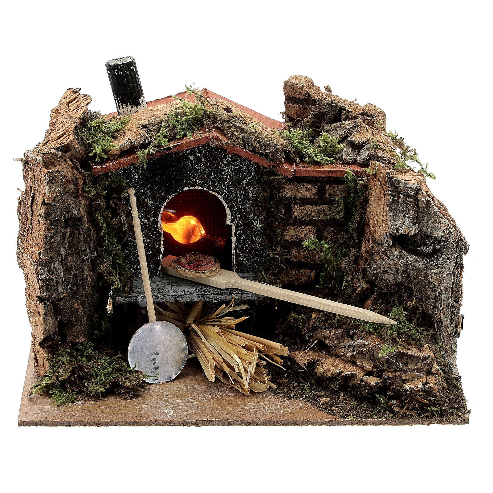 Four à bois crèche pizza ampoule EFFET FLAMME 10x15x10 cm crèche 6-8 cm 4