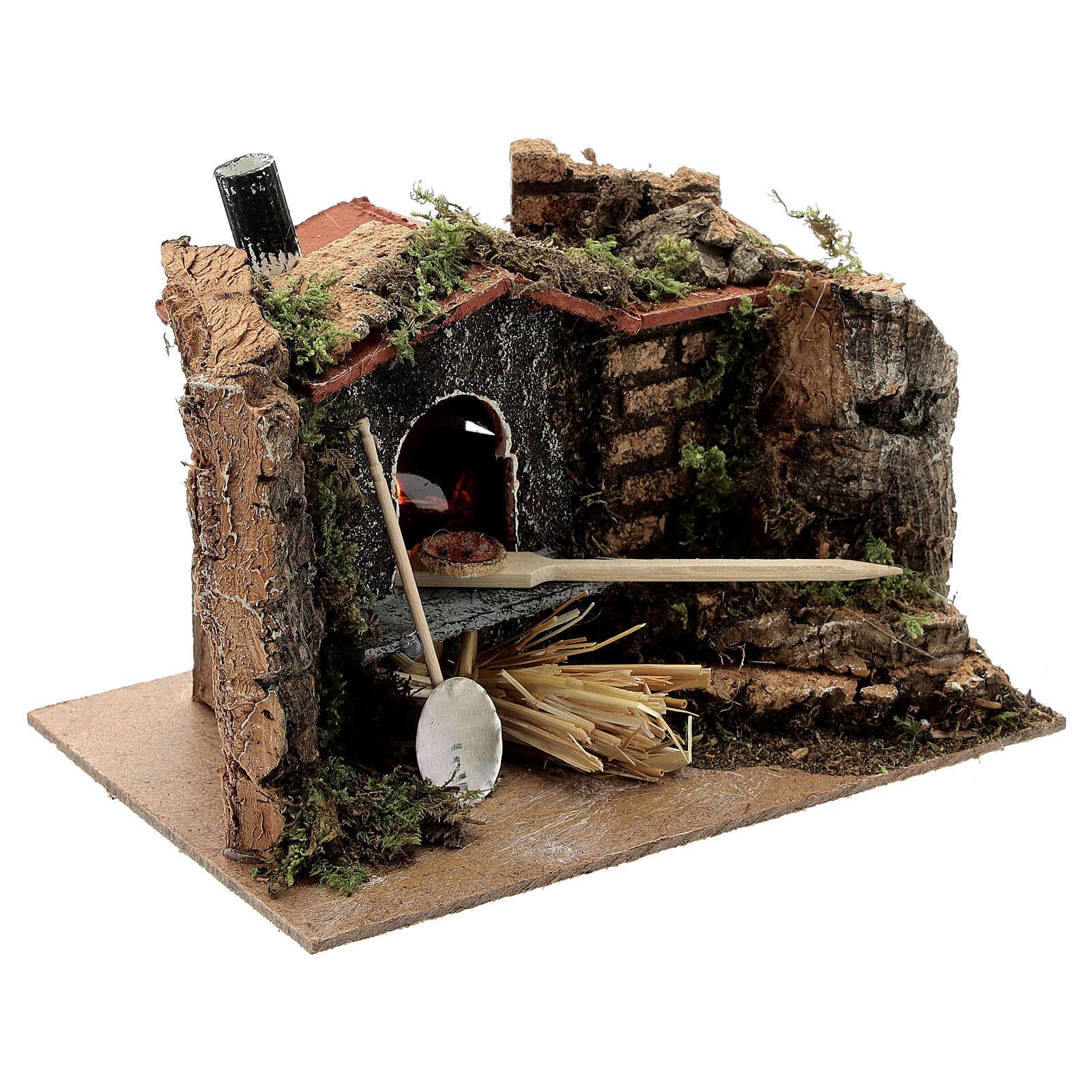 Mini brick pizza oven FIRE FLAME EFFECT bulb 10x15x10 cm nativity 6-8 cm 4