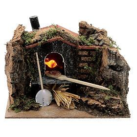 Mini brick pizza oven FIRE FLAME EFFECT bulb 10x15x10 cm nativity 6-8 cm s1