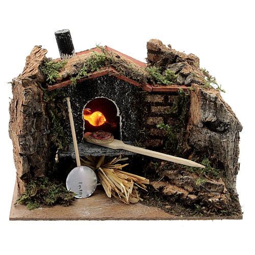Mini brick pizza oven FIRE FLAME EFFECT bulb 10x15x10 cm nativity 6-8 cm 1