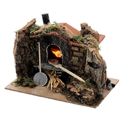 Mini brick pizza oven FIRE FLAME EFFECT bulb 10x15x10 cm nativity 6-8 cm 2