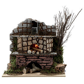 Open brick oven FLICKERING FLAME EFFECT bulb 15x15x10 cm nativity 10-12 cm s1