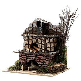 Open brick oven FLICKERING FLAME EFFECT bulb 15x15x10 cm nativity 10-12 cm s2