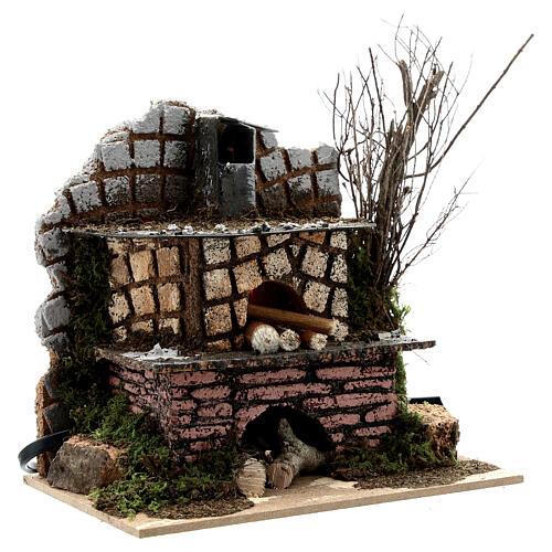Open brick oven FLICKERING FLAME EFFECT bulb 15x15x10 cm nativity 10-12 cm 3