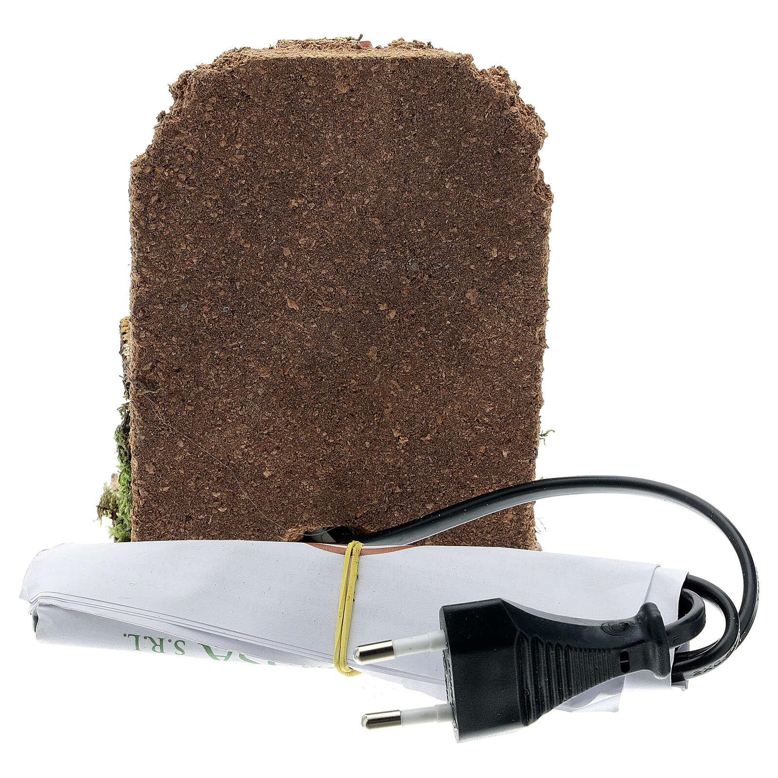 Forno a legna presepe muretto luce EFFETTO FIAMMA 15x10x5 presepe 8-10 cm 4