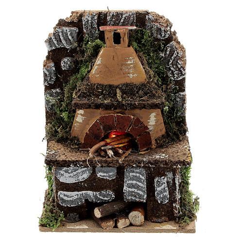 Forno a legna presepe muretto luce EFFETTO FIAMMA 15x10x5 presepe 8-10 cm 1