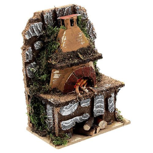 Forno a legna presepe muretto luce EFFETTO FIAMMA 15x10x5 presepe 8-10 cm 3