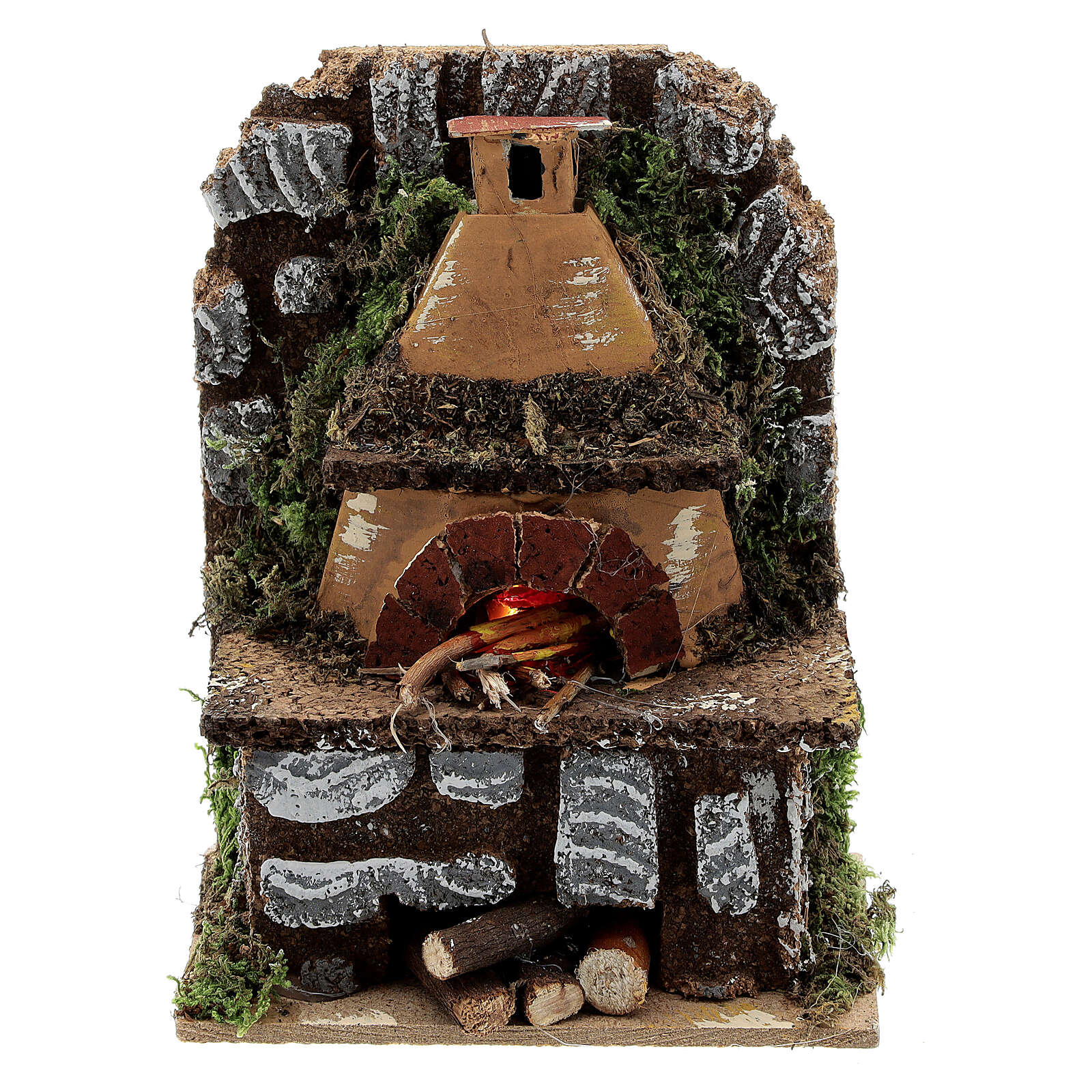 Mini wood fired outdoor oven FLAME EFFECT light bulb 15x10x5 nativity 8-10 cm 4