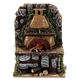 Mini wood fired outdoor oven FLAME EFFECT light bulb 15x10x5 nativity 8-10 cm s1