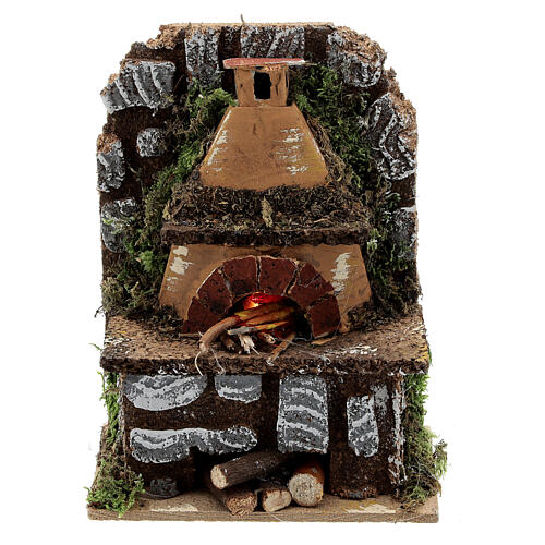Mini wood fired outdoor oven FLAME EFFECT light bulb 15x10x5 nativity 8-10 cm 1