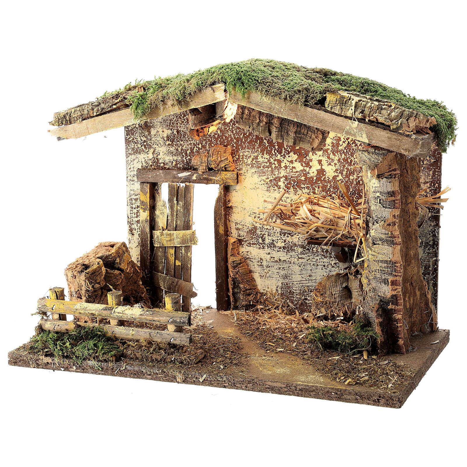 Cabane éclairée Nativité palissade 25x35x20 cm pour crèche 12 cm 4