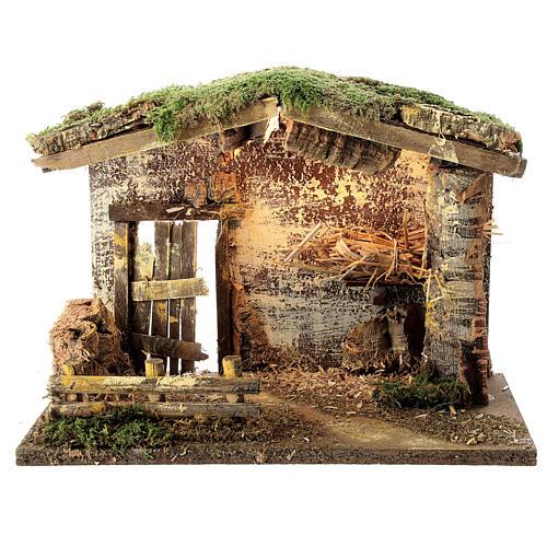 Cabane éclairée Nativité palissade 25x35x20 cm pour crèche 12 cm 1