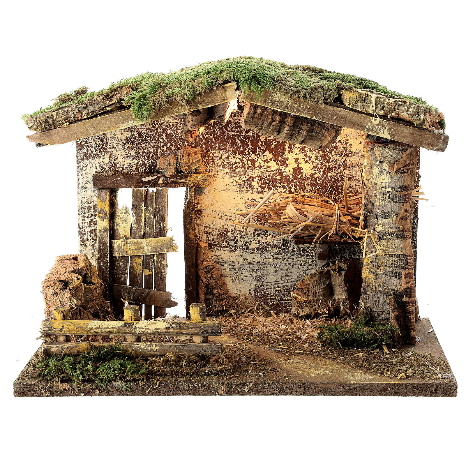 Lighted stable with fence 25x35x20 cm for 12 cm nativity 4