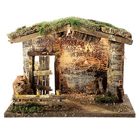 Lighted stable with fence 25x35x20 cm for 12 cm nativity s1