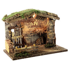 Lighted stable with fence 25x35x20 cm for 12 cm nativity s3
