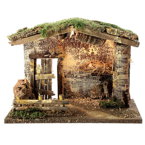 Lighted stable with fence 25x35x20 cm for 12 cm nativity 1