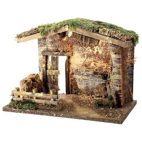 Lighted stable with fence 25x35x20 cm for 12 cm nativity 2