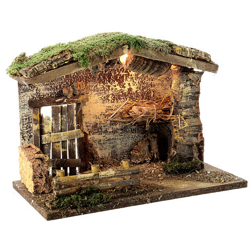 Lighted stable with fence 25x35x20 cm for 12 cm nativity 3