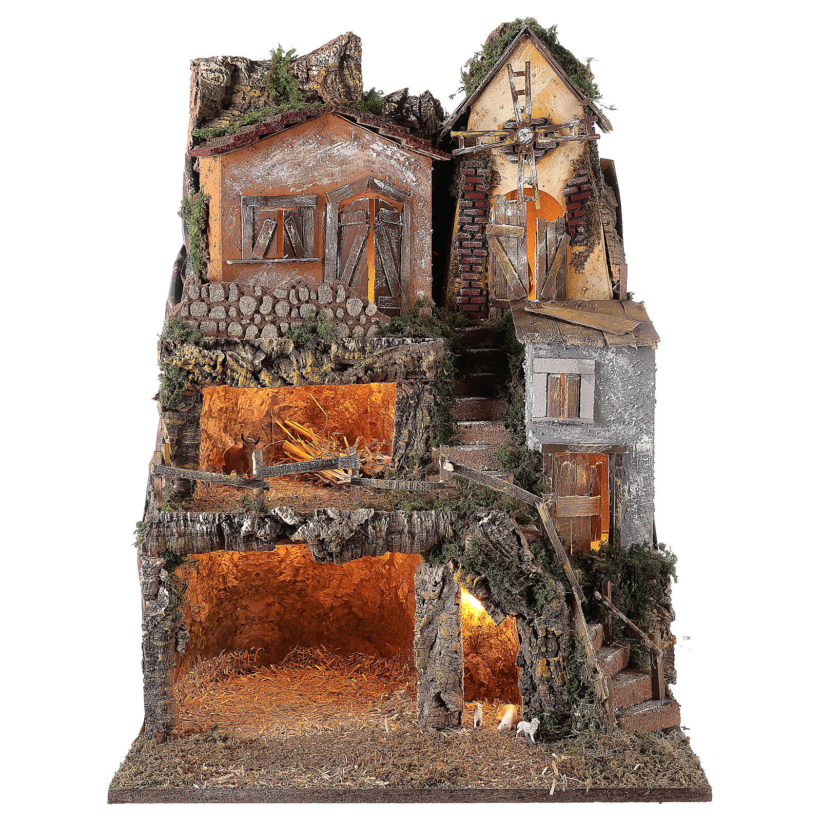 Presepe borgo modulare completo stile classico 70x180x50 cm figure 10 cm 4