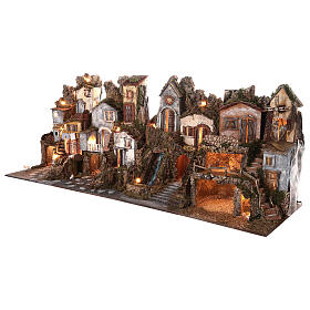 Presepe borgo modulare completo stile classico 70x180x50 cm figure 10 cm s2