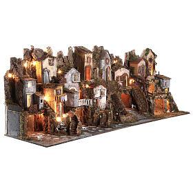 Presepe borgo modulare completo stile classico 70x180x50 cm figure 10 cm s4