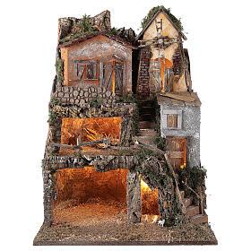 Presepe borgo modulare completo stile classico 70x180x50 cm figure 10 cm s7