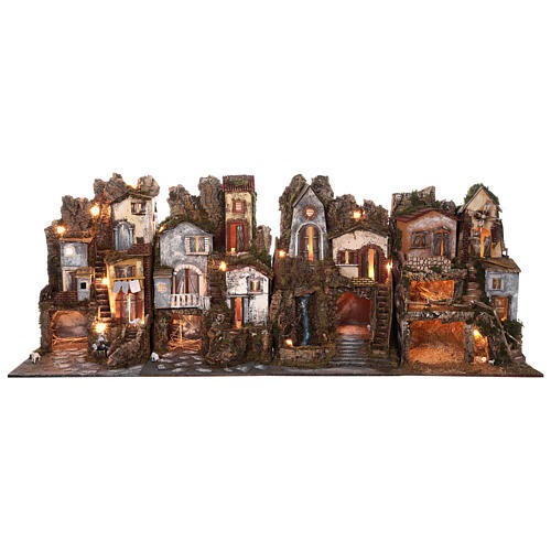 Presepe borgo modulare completo stile classico 70x180x50 cm figure 10 cm 1