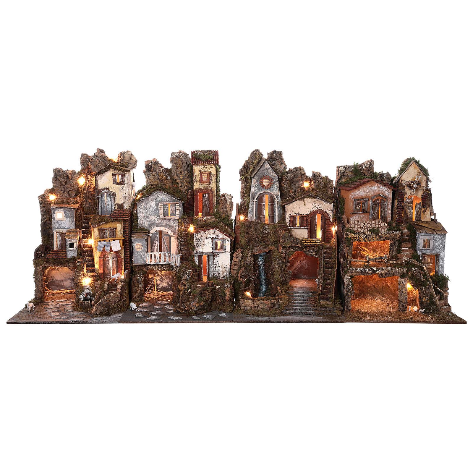 Presépio completo estilo clássico aldeia para figuras altura média 10 cm; medidas: 70x180x50 cm 4