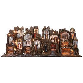Presépio completo estilo clássico aldeia para figuras altura média 10 cm; medidas: 70x180x50 cm s1