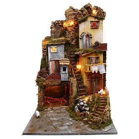 Presépio completo estilo clássico aldeia para figuras altura média 10 cm; medidas: 70x180x50 cm s3