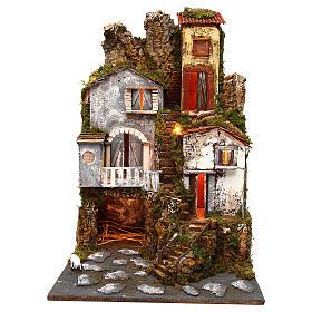 Presépio completo estilo clássico aldeia para figuras altura média 10 cm; medidas: 70x180x50 cm s5
