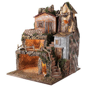 Presépio completo estilo clássico aldeia para figuras altura média 10 cm; medidas: 70x180x50 cm s8