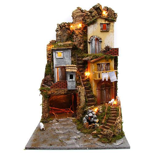 Presépio completo estilo clássico aldeia para figuras altura média 10 cm; medidas: 70x180x50 cm 3