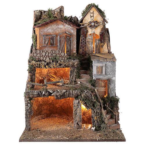 Presépio completo estilo clássico aldeia para figuras altura média 10 cm; medidas: 70x180x50 cm 7