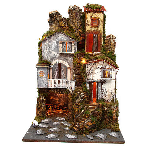 Large village set modular classic style 70x180x50 cm statues 10 cm 5