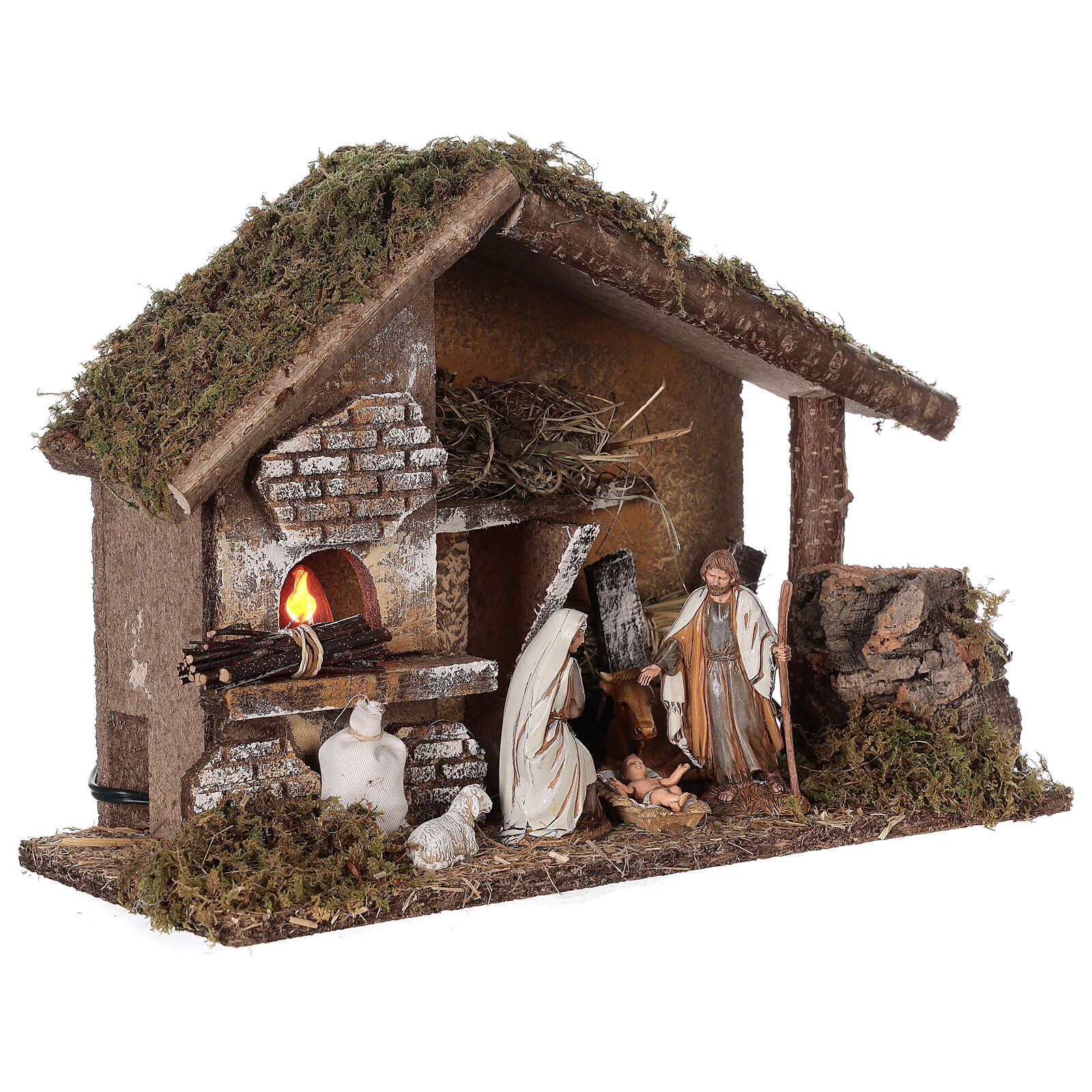 Stable with oven 35x15x25 cm for Nativity scenes with 10 cm figurines 4