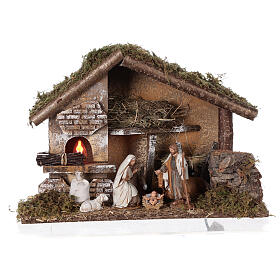 Stable with oven 35x15x25 cm for Nativity scenes with 10 cm figurines s1