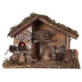 Stable with oven 35x15x25 cm for Nativity scenes with 10 cm figurines s5