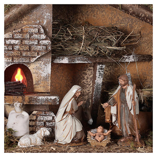 Stable with oven 35x15x25 cm for Nativity scenes with 10 cm figurines 2