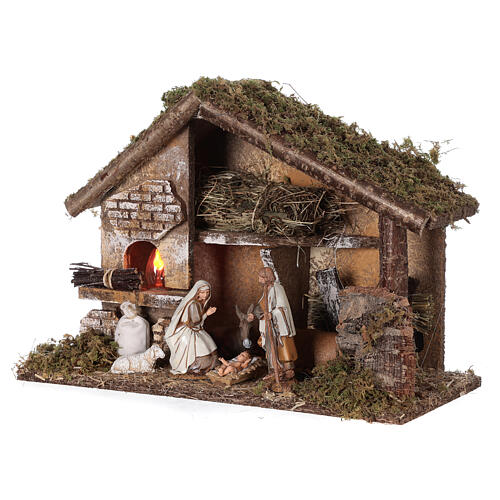Stable with oven 35x15x25 cm for Nativity scenes with 10 cm figurines 3