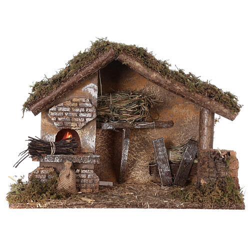 Stable with oven 35x15x25 cm for Nativity scenes with 10 cm figurines 5