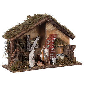Stable with fountain 35x15x25 cm for Nativity scenes with 10 cm figurines s4