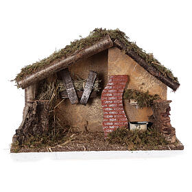 Stable with fountain 35x15x25 cm for Nativity scenes with 10 cm figurines s5