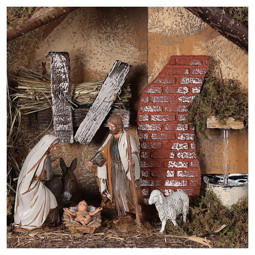 Stable with fountain 35x15x25 cm for Nativity scenes with 10 cm figurines 2